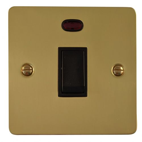 G&H FB26B Flat Plate Polished Brass 1 Gang 20 Amp Double Pole Switch & Neon